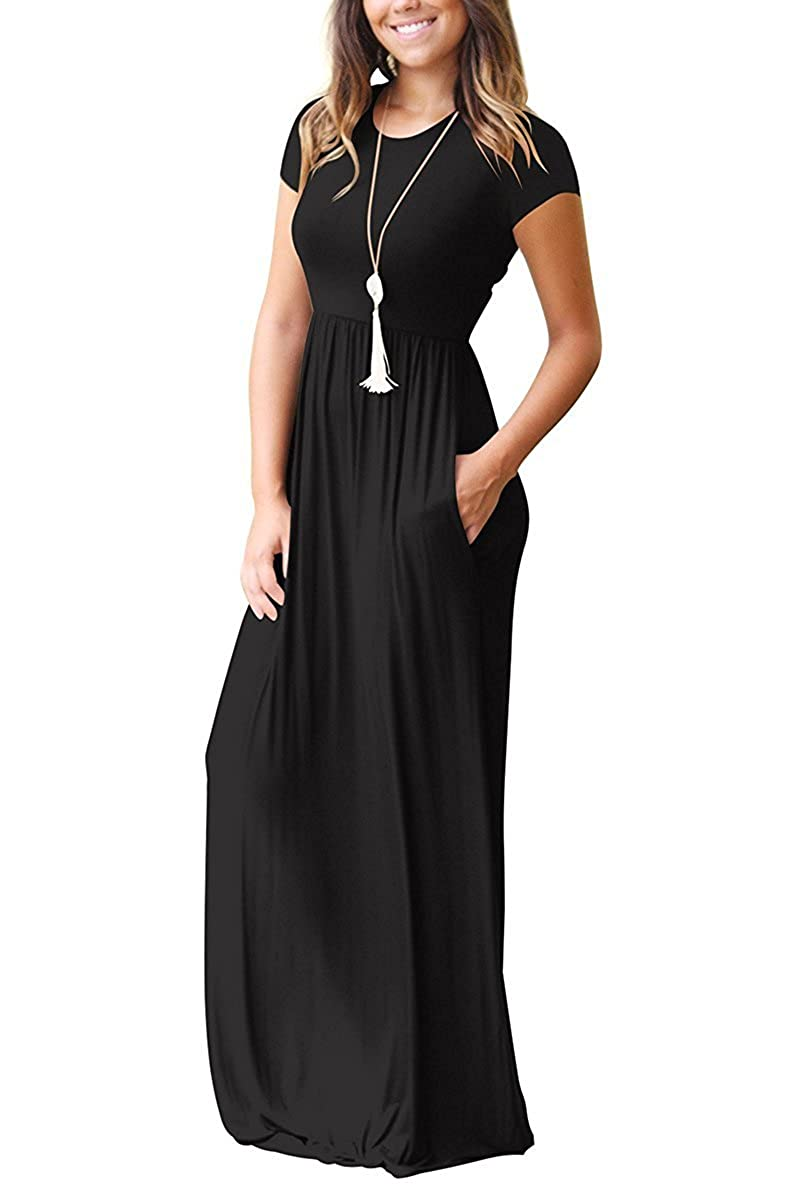 80763bb11 AUSELILY Women Short Sleeve Loose Plain Casual Long Maxi Dresses with  Pockets: Amazon.ca: Clothing & Accessories