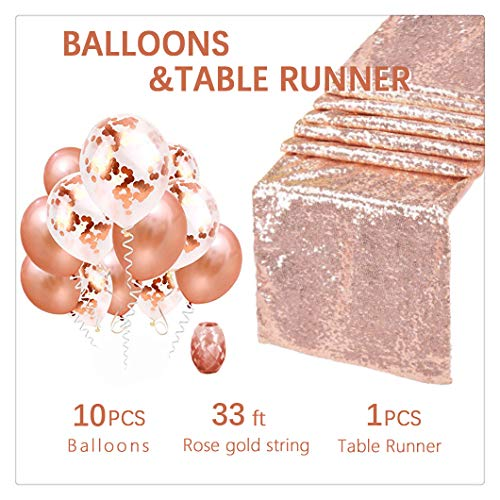 Sequin table cover 12x108Inches Rose Gold Sequin Decorative Wedding Table Runner Rose Gold Balloons and Confetti Balloons for Party Wedding by QueenDream 1 Pieces