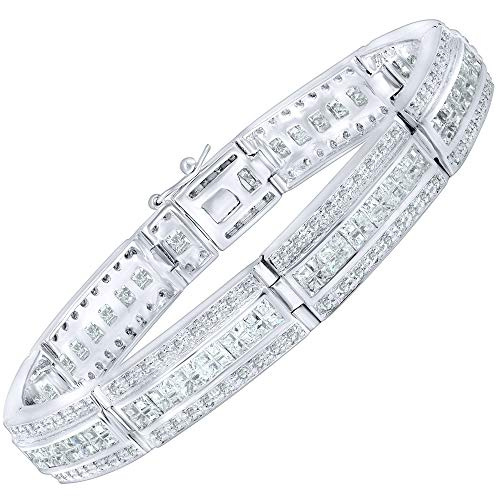 Men's Sterling Silver .925 Bracelet with 183 Channel Set Fancy Princess and Elegant Round Cubic Zirconia (CZ) Stones, Box Lock, Platinum Plated 8