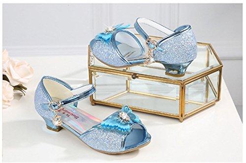 YOGLY Sandalias Para Niñas 2018 Verano Niña Disfraz de Princess Crystal Zapatos de Tacón Lentejuelas Brillantes Diamante de Imitación Azul