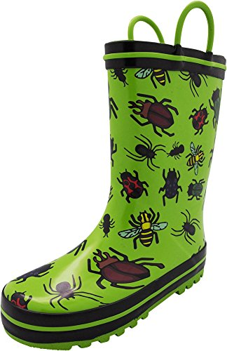 (NORTY - Toddler Boys Bugs and Insects Waterproof Rainboot, Lime)