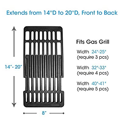 UNICOOK Porcelain Cast Iron Grill Grate for Gas Grill, Barbecue Cooking Grid Replacement,Adjustable Depth from 14'' to 20'' Front to Back, 8'' Width, Fits Most Gas Grill