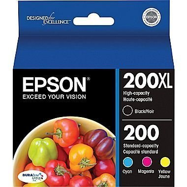 Epson 200XL Black + 200 Cyan/Yellow/Magenta Combo Saver Pack (Ink Cartridges Epson 200xl)