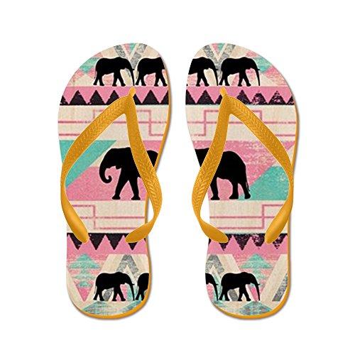 CafePress Aztec Elephant - Flip Flops, Funny Thong Sandals, Beach Sandals Orange