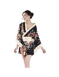 Chinatera Women Sexy Satin Kimono, Babydoll Lingerie, Floral Print Short Nighties, Photo Props, Cosplay