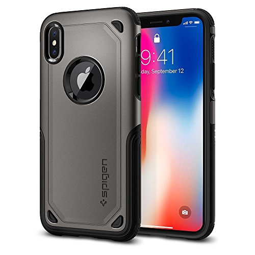 Armor Metal Hybrid (Spigen Hybrid Armor iPhone X Case with Air Cushion Technology and Secure Grip Drop Protection for Apple iPhone X (2017) - Gunmetal)