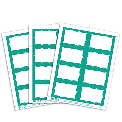 UPC 038944923635, C-Line Pressure Sensitive Inkjet/Laser Printer Name Badges, Green Border, 3.38 x 2.33 Inches, 200 Labels per Box (92363)