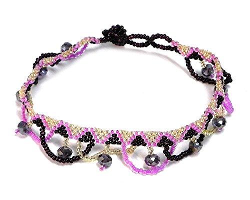 Mia Jewel Shop Seed Bead Crystal Bead Fringe Loop Dangle Tribal Anklet