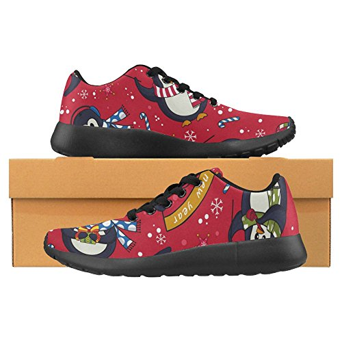 Interestprint Mujeres Jogging Running Sneaker Ligero Go Easy Walking Casual Comodidad Deportes Zapatillas Cute Christmas Penguins Patrón Sin Fisuras Con Candy Canes Y Copos De Nieve Multi 1