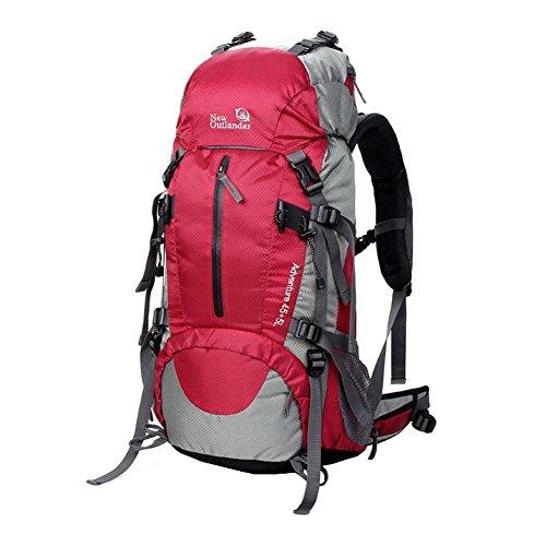 WTUS Hombre y Mujer Mochila Bolsos Al aire libre Viaje de Nylon de Excursión Impermeable y Montañismo Excursionism Senderismo bolsos Rojo