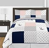 Sweet Jojo Designs 3-Piece Navy Blue, Pink, and Grey Patchwork Woodland Fox and Arrow Girl Full / Queen Kid Childrens Bedding Comforter Set s