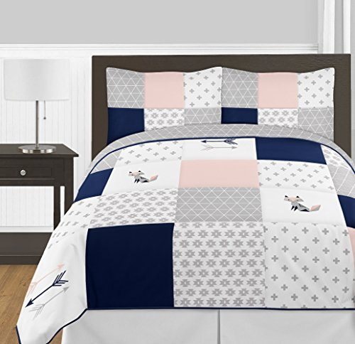 Sweet Jojo Designs 3-Piece Navy Blue, Pink, and Grey Patchwork Woodland Fox and Arrow Girl Full/Queen Kid Childrens Bedding Comforter Set (And Blush Bedding Navy)