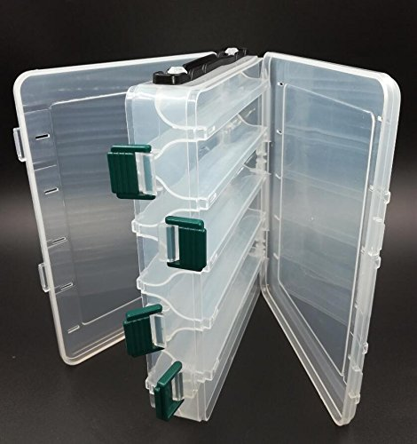 SLMOZKA Double Sided Tackle Box Fishing Lure Egi Squid Jig Box Minnows Bait Fishing Tackle Container [10 Compartments]