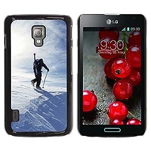 TopCaseStore / la caja del caucho duro de la cubierta de protección de la piel - Winter Skiing - LG Optimus L7 II P710 / L7X P714