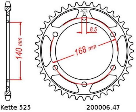 Kettensatz geeignet f/ür BMW F 800 R 09-17 Kette RK 525 GXW 120 offen 20//47