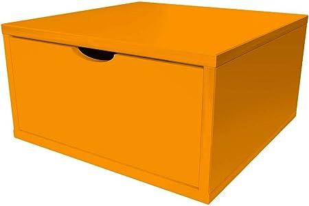 Abc Meubles Cube De Rangement 50x50 Cm Tiroir Bois Cube50t