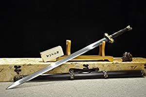 Loong sword,Counteract evil force sword(Damascus steel blade,Ebony Scabbard,Brass fittings)Length 43""