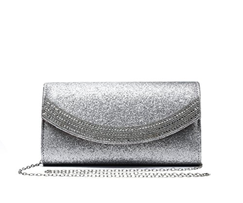 28 Diamante Wedding silver Women's Bag Shiny Crystals Silver Clutch Foxlady Party Evening Sparkling Prom Bag 60RRnOz