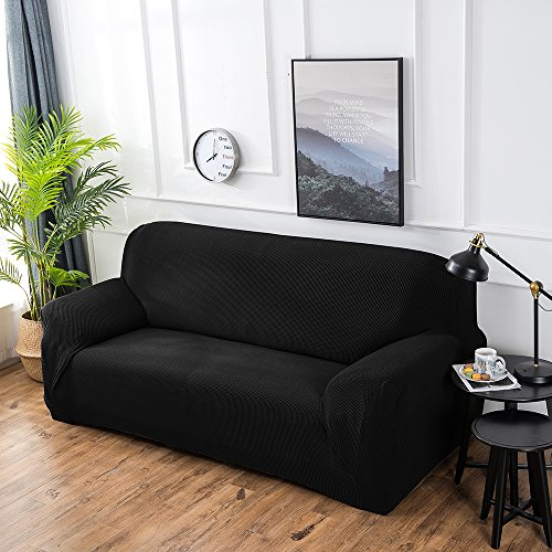 Hengwei Sectional Sofa Cover Stretch Couch Slipcover 1 Pcs DIY (Buy 2/3 for L / U Shape Sofa)-Soft Polyester Fabric Form Fit Furniture Protector for Kids Pets Home Gift(Black, A-3 Seat 74-90in)