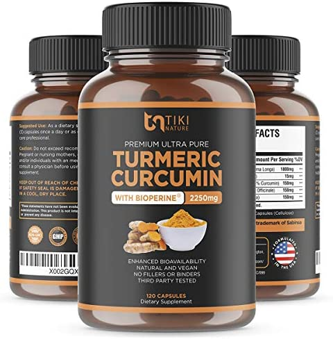 Organic Turmeric Curcumin with BioPerine, Ginger Triphala 2250mg, 95 Curcuminoids. Maximum Potency, Joint Pain Relief, Healthy-Aging, Non-GMO, Gluten Free, Anti Inflammatory Supplement 120 Caps