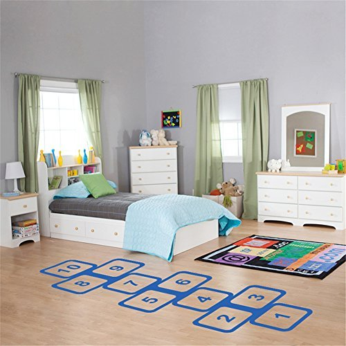 Newsee Decals Vinyl Hopscotch Wall Decals for Kids Room Wall Decoration Sticker Wallpaper Room Decor (58cm145cm Blue)