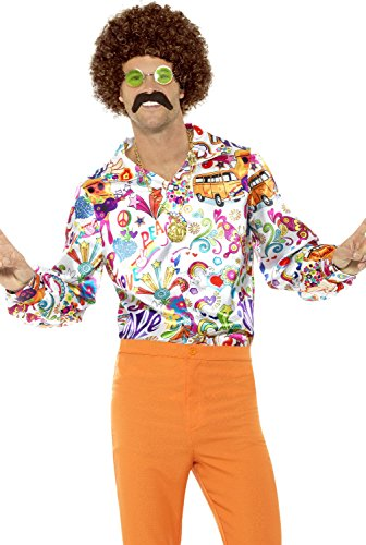 60#039s Groovy Hippie Costume Shirt Adult Mens Retro Peace Love Fancy Dress MDXL