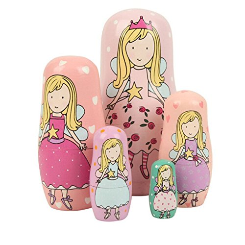Winterworm Cute Lovely Angel Princess with Pink Purple Green Dress Handmade Nesting Dolls Matryoshka Dolls Russian Dolls Set 5 Pieces Kids Girls Gifts Toy Home Decoration.