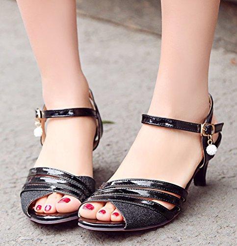 Aisun Women's Delicate Peep Toe Buckled Sandals Shoes Black sPII590MC