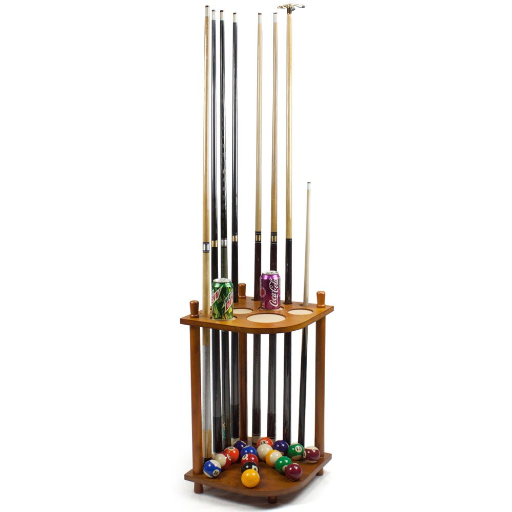 Felson Billiard Supply – 8 Cue Corner Pool Cue Rack – Easy to Assemble Pool Cue Rack – Made from Beech Wood