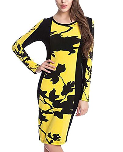 Women's Jaycargogo Long Patchwork Bodycon Yellow Business Pencil Dress Elegant Sleeve ddqArw