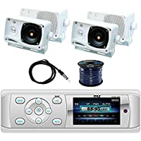 Pyle PLMR15BW Bluetooth Marine Stereo Radio Receiver w/Pyle PLMR24 3.5 200W 3-Way Weather Proof Mini Box Speakers(2-Pairs)(White), Enrock EKMR2 Marine Antenna & Enrock Marine 50 16G Speaker Wire