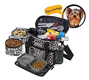 Dog Travel Bag - Week Away Tote For Small Dogs - Includes Bag, 2 Lined Food Carriers, Placemat, and 2 Collapsible Bowls (Animal Print)