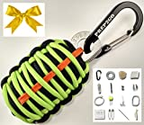 Paracord Survival Grenade EDC Kit | Ultimate Emergency (25pc) Military Grade Wilderness Prepper Gear--Camping Hiking Hunting. Moms Feel Safe! Your Kids can get Food, Fire & Shelter When Lost