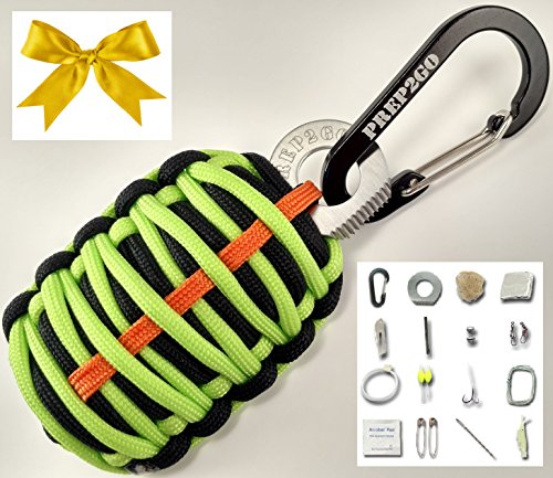 Outdoorsman Survival Gift Emergency Boy Scout Paracord Grenade--Top (24pc) SOS Kit Wilderness Prepper Gear--Camping Hiking Hunting. Moms Feel Safe! Your Kids can get Food, Fire & Shelter When Lost