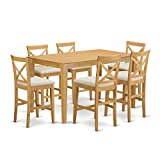 East West Furniture CAPB7H-OAK-C 7 Pc Counter Height Dining Room Set-Pub Table and 6 bar stools with Backs