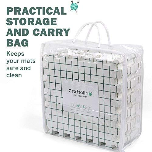 Blocking Mats for Knitting - 9 Extra Thick Boards With 1 Inch Spaced Grid - For Needlepoint or Crochet - Includes 150 Stainless T-Pins and Convenient Storage Bag With Handles by Craftolino (Image #3)