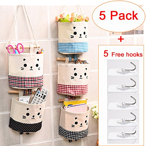5 Pack Hanging Storage Organizer Hanging Storage Pouch Wall Mounted Storage Pockets Waterproof Wall Door Closet Storage Bag Over The Door Organizer for House Bathroom Office ()