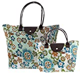 Folding Beach Bags and Totes for Women 2-piece Collapsible Travel Tote Bag Set Folding Tote Bag Pair OrangeGreen