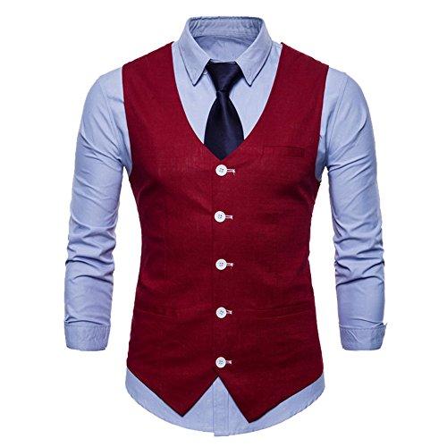 Costume Uni Couleur Rouge Mariage Élégant Homme Fit Pour Casual Gilet Slim 1EPwW