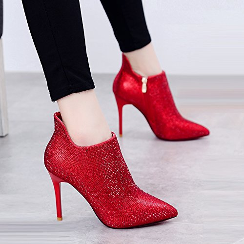KPHY-Rote Stiefel Mit Hochhackigen Schuhen Die Hochzeit Schuhe Herbst Winter Wasser Bohren Kurze Stiefel Gut Ferse Und Stiefeletten 37 Des