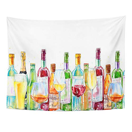 Emvency Tapestry 60 x 50 Inches Border Champagne Cognac Wine Beer Glass Painting Alcohol Drink Watercolor White Wall Hanging Art Home Decor Tapestries Bedroom Dorm Living Room ()