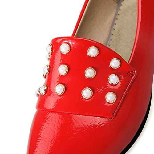 AllhqFashion Damen Ziehen auf Spitz Zehe Niedriger Absatz PU Leder Eingelegt Pumps Schuhe Rot
