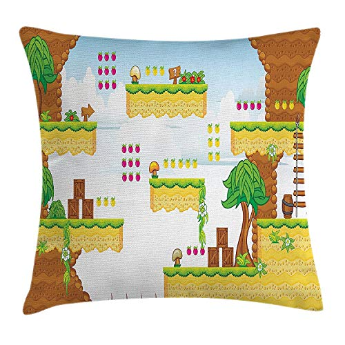 ZninesOnhOLD Video Games Throw Pillow Cushion Cover, Cartoon Retro Computer Graphic Kids Western Design Box Cloud Fun Adventure 90's, Decorative Square Accent Pillow Case, 18 X 18 Inches, Multicolor