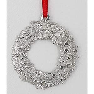878 Wreath Holiday Christmas Ornament Pewter 6