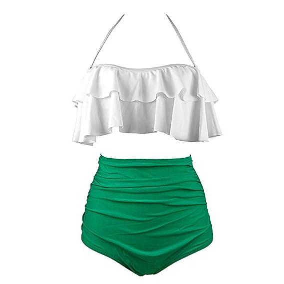 Fashionyoung Traje de Baño Mujer Bikini Cintura Alta Push up Retro Flores Print Elegante Bañador Beachwear Ropa de Playa Verano