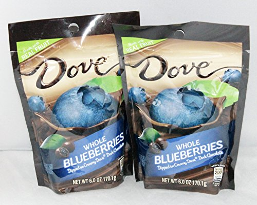 Dove Whole Dried Blueberries Dipped in Creamy Dove Dark Chocolate: 2 Bags of 6 Oz Size by Dove