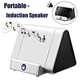 Portable Speaker Xenzy Wireless Induction Speaker Stereo Amplifier Dock Portable Rechargeable Touch Loudspeaker Car Home Travel Sound Player Speaker Stand for iPhone Android phones (White) Gift