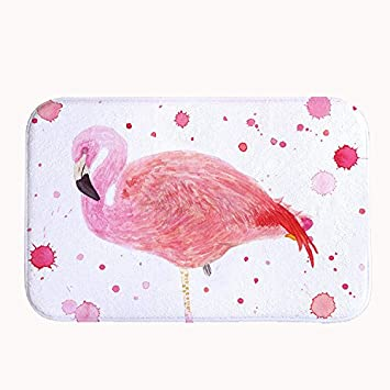 Rioengnakg Pink Flamingo Badteppich Coral Fleece Bereich Teppich
