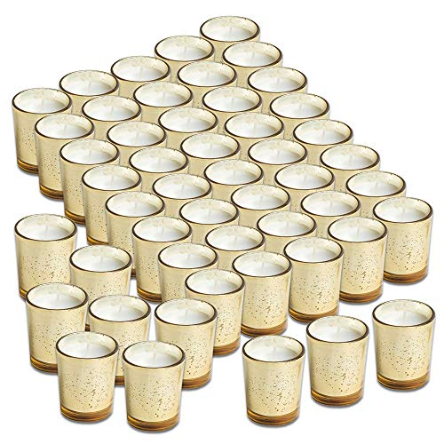 Simplicité Glass Votive Candles Unscented Set of 48 in Mercury Gold ()