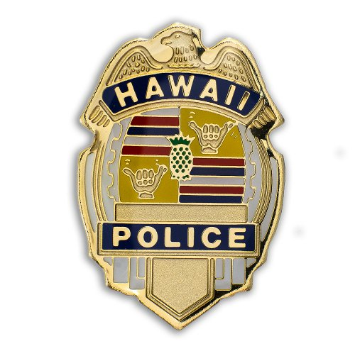 K Chang Hawaii Lapel or Hat Pin Police Gold, Blue One (Police Hat Pin)